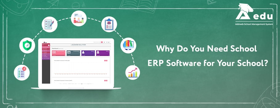 Graphical image showing text as reasons to choose School erp software